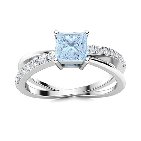 Natural 0.96 CTW Aquamarine & Diamond  Engagement Ring 14K White Gold