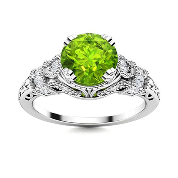 Natural 1.76 CTW Peridot & Diamond Engagement Ring 18K White Gold
