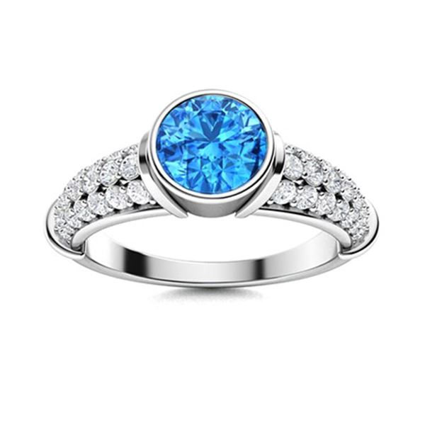 Natural 1.97 CTW Topaz & Diamond  Engagement Ring 18K White Gold