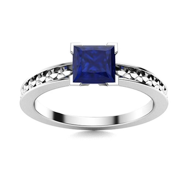 Natural 0.87 CTW Sapphire Solitaire Ring 18K White Gold