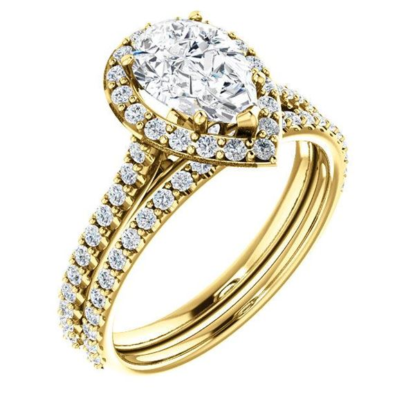 Natural 3.02 CTW Halo Teardrop Pear Cut Diamond Engagement Set 18KT Yellow Gold