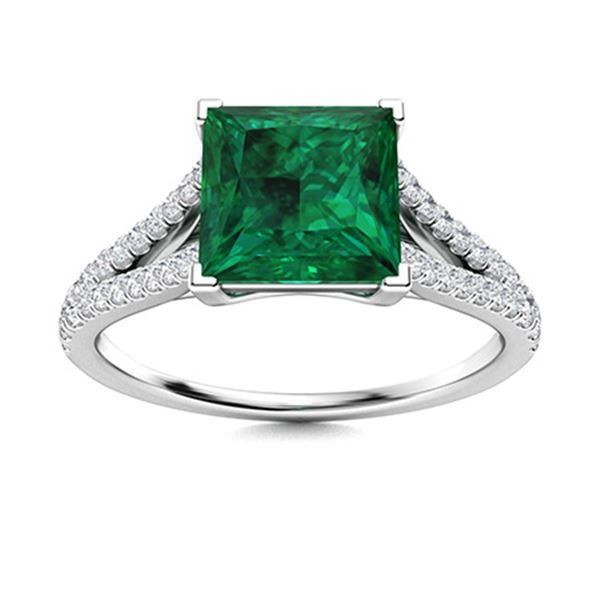Natural 1.12 CTW Emerald & Diamond Engagement Ring 14K White Gold