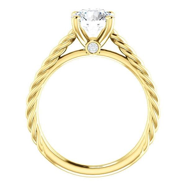 Natural 2.12 CTW Round Cut Rope Design Diamond Engagement Set 18KT Yellow Gold