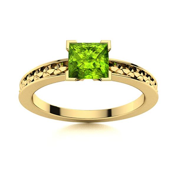 Natural 1.58 CTW Peridot Solitaire Ring 14K Yellow Gold