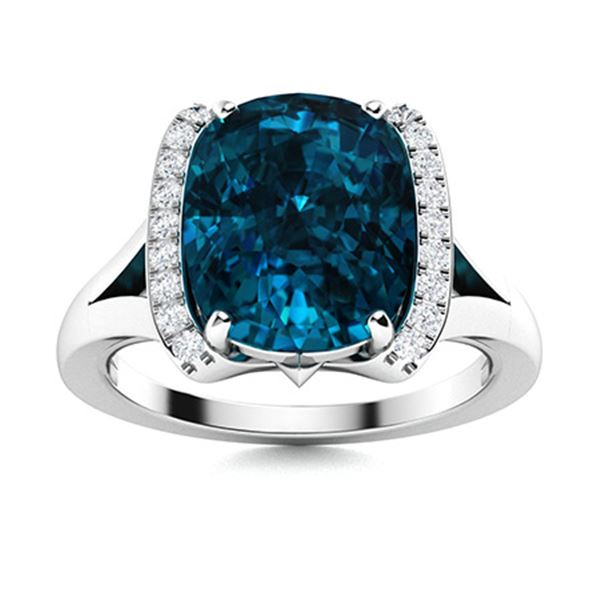 Natural 3.62 CTW Topaz & Diamond Engagement Ring 14K White Gold