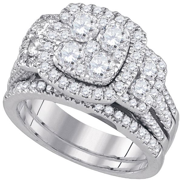 14kt White Gold Round Diamond Bridal Wedding Ring Band Set 3 Cttw