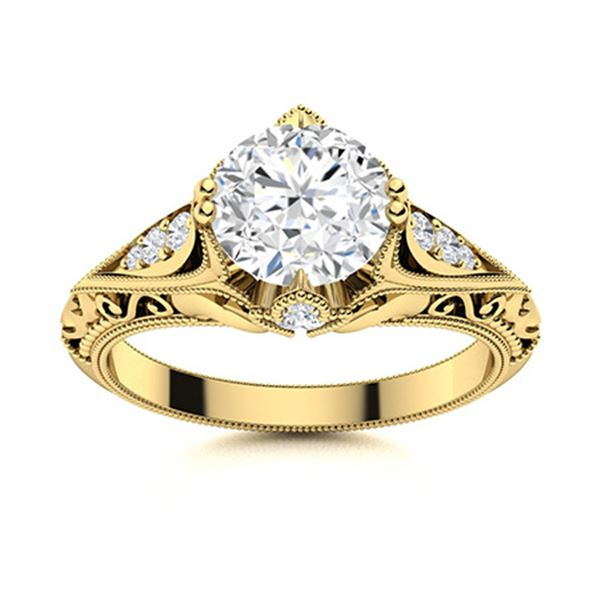 Natural 1.63 CTW Diamond Solitaire Ring 14K Yellow Gold
