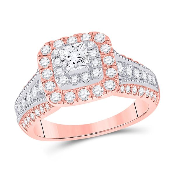 14kt Two-tone Gold Princess Diamond Halo Bridal Wedding Engagement Ring 1-1/2 Cttw