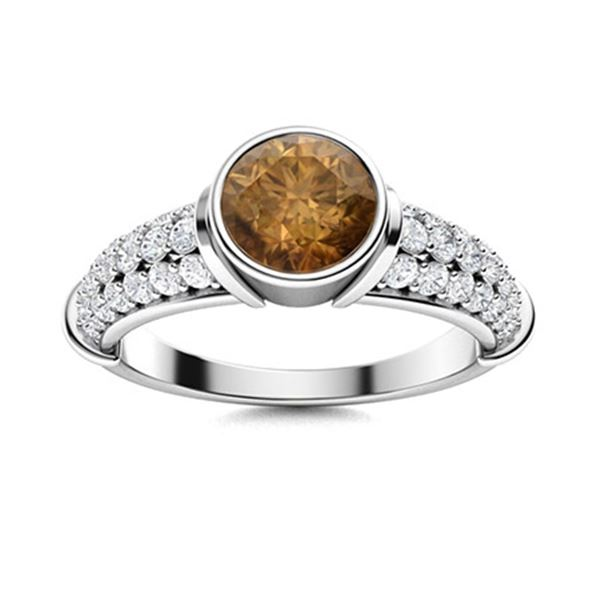 Natural 1.37 CTW Brown & White Diamond Engagement Ring 18K White Gold
