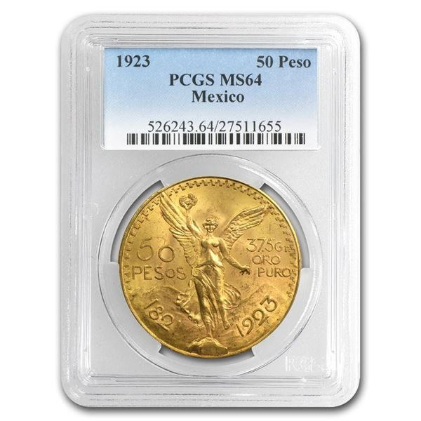 1923 Mexico Gold 50 Pesos MS-64 PCGS