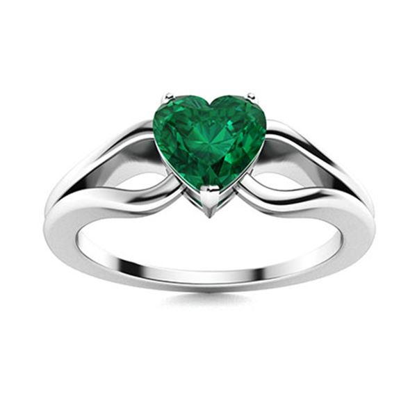 Natural 1.50 CTW Emerald Solitaire Ring 14K White Gold