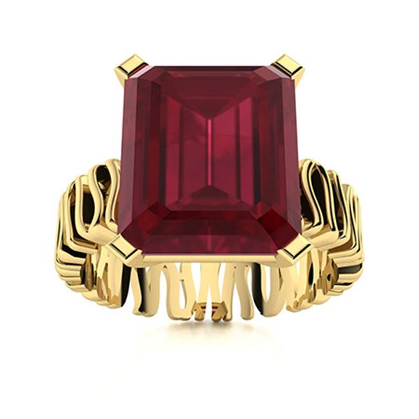 Natural 6.26 CTW Ruby Solitaire Ring 14K Yellow Gold