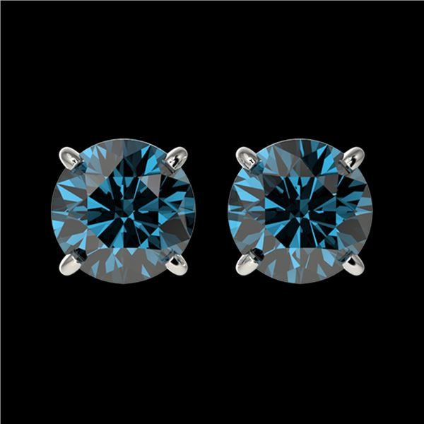 1.50 ctw Certified Intense Blue Diamond Stud Earrings 10k White Gold - REF-104M3G