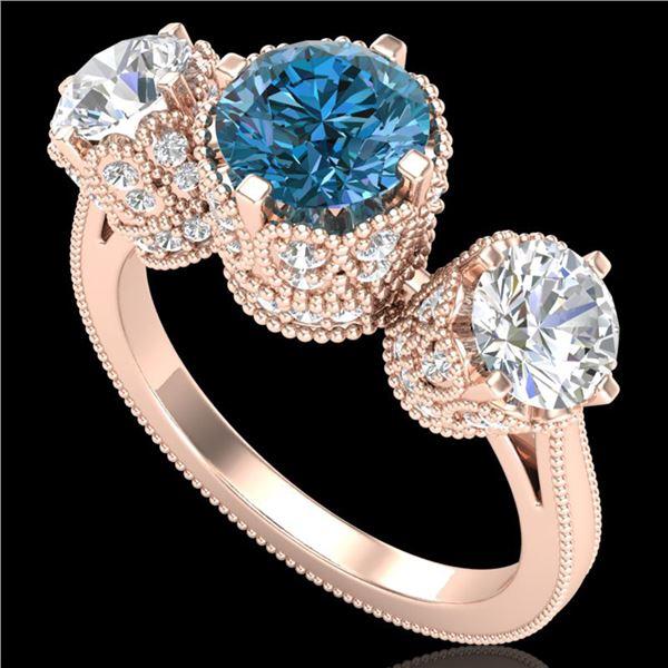 3.06 ctw Fancy Intense Blue Diamond Art Deco Ring 18k Rose Gold - REF-390G9W