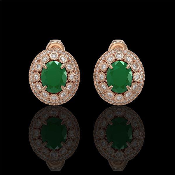 8.84 ctw Certified Emerald & Diamond Victorian Earrings 14K Rose Gold - REF-227R3K