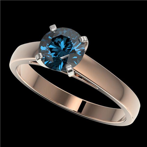 1.22 ctw Certified Intense Blue Diamond Engagment Ring 10k Rose Gold - REF-120M3G