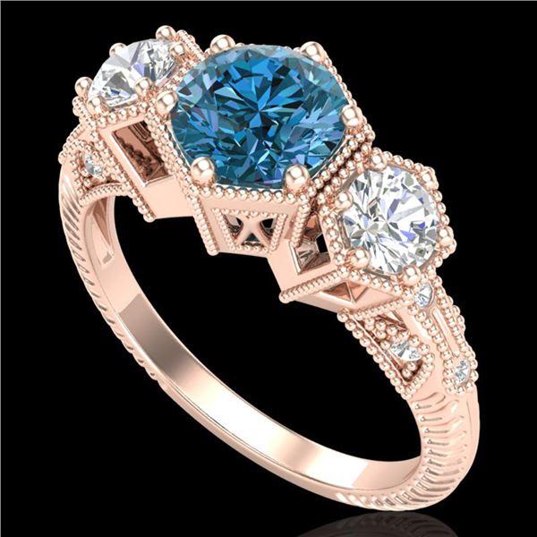 1.66 ctw Intense Blue Diamond Art Deco 3 Stone Ring 18k Rose Gold - REF-254G5W