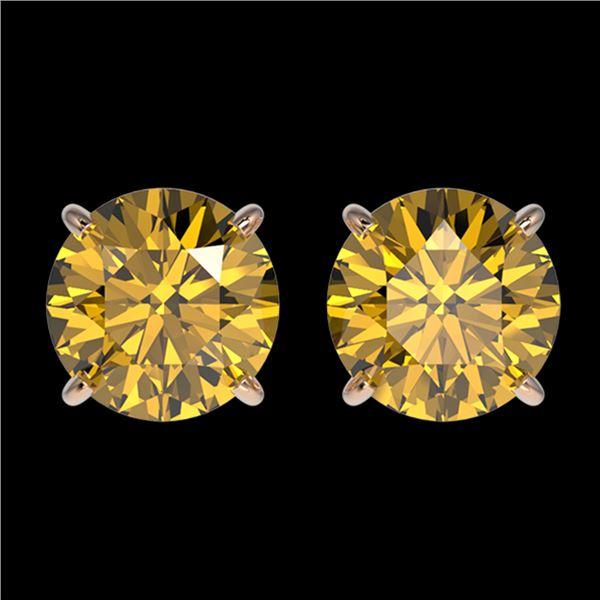 2 ctw Certified Intense Yellow Diamond Stud Earrings 10k Rose Gold - REF-294W5H