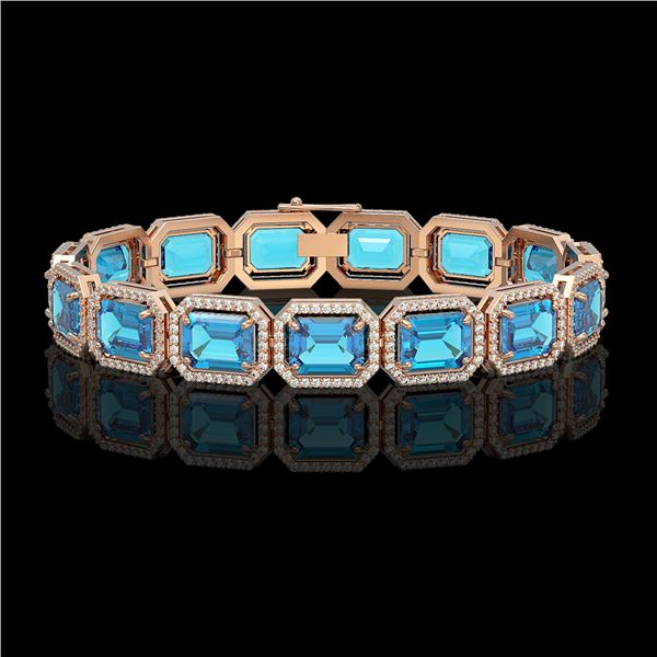 35.61 ctw Swiss Topaz & Diamond Micro Pave Halo Bracelet 10k Rose Gold - REF-337H3R