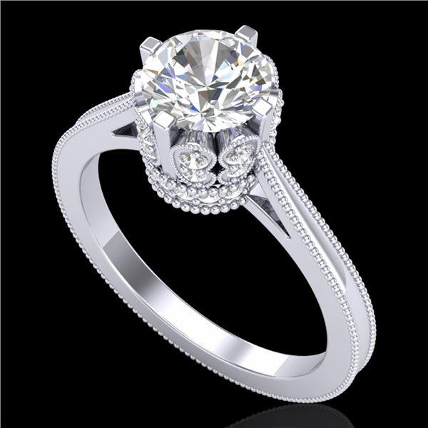 1.5 ctw VS/SI Diamond Art Deco Ring 18k White Gold - REF-399N3F