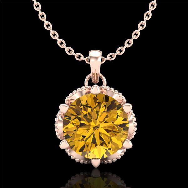 1.36 ctw Intense Fancy Yellow Diamond Art Deco Necklace 18k Rose Gold - REF-272M8G