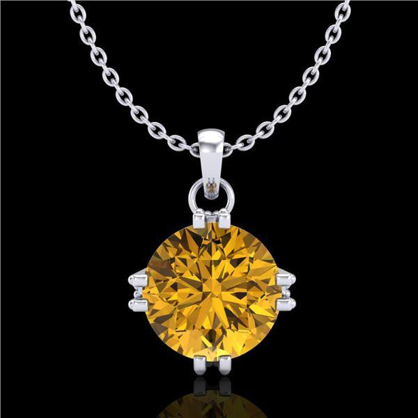 1 ctw Intense Fancy Yellow Diamond Art Deco Necklace 18k White Gold - REF-218F2M