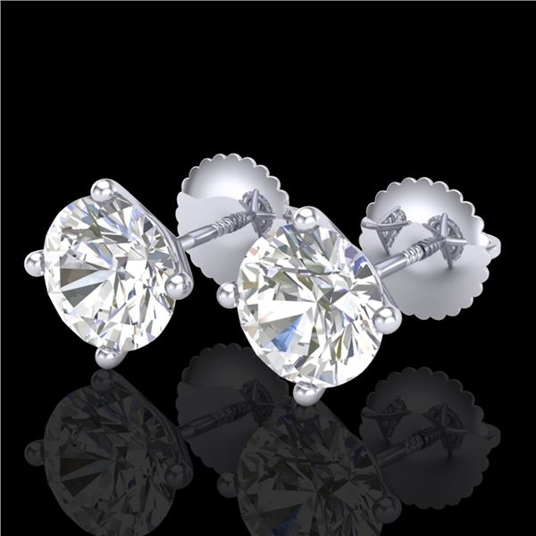 2.5 ctw VS/SI Diamond Solitaire Art Deco Stud Earrings 18k White Gold - REF-601W4H