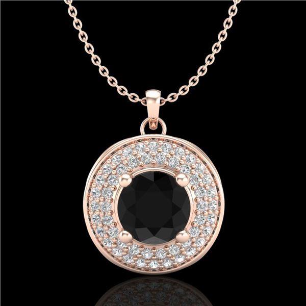 1.25 ctw Fancy Black Diamond Art Deco Stud Necklace 18k Rose Gold - REF-83H6R