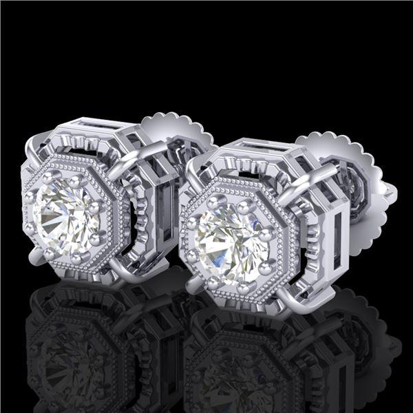 1.11 ctw VS/SI Diamond Solitaire Art Deco Stud Earrings 18k White Gold - REF-254W5H
