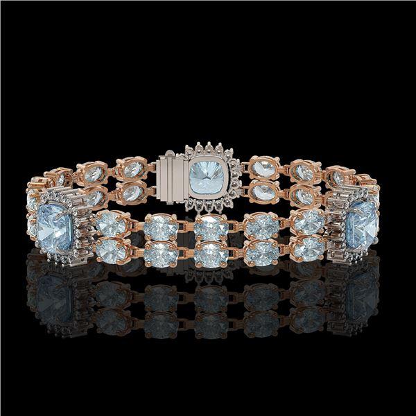17.19 ctw Aquamarine & Diamond Bracelet 14K Rose Gold - REF-289W3H