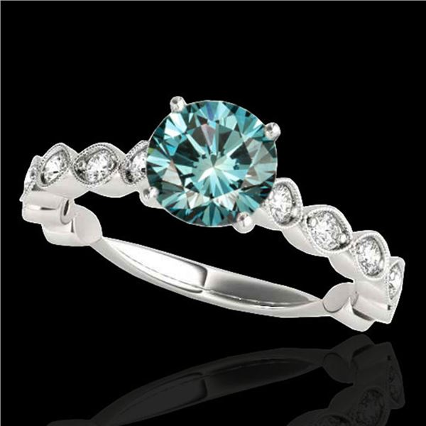 1.75 ctw SI Certified Fancy Blue Diamond Solitaire Ring 10k White Gold - REF-170X5A