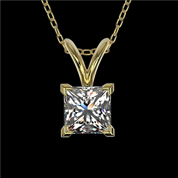 0.50 ctw Certified VS/SI Quality Princess Diamond Necklace 10k Yellow Gold - REF-65Y2X