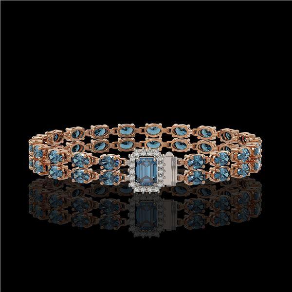17.34 ctw London Topaz & Diamond Bracelet 14K Rose Gold - REF-236F4M