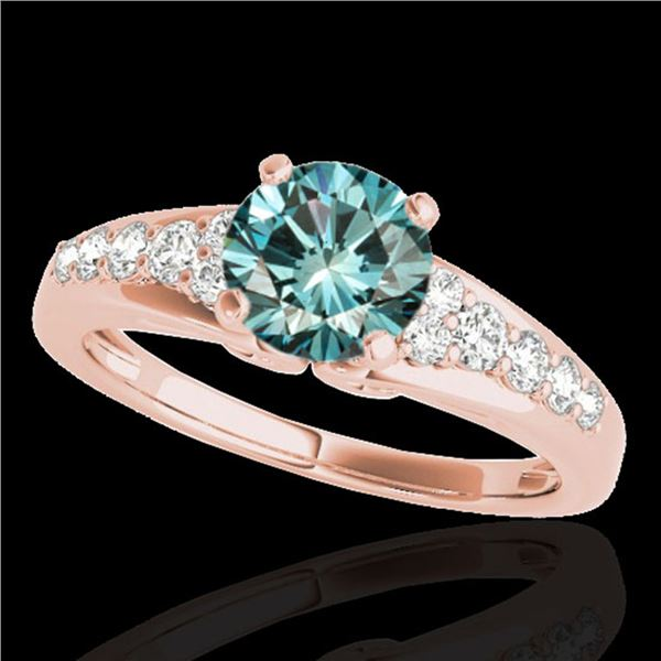 1.40 ctw SI Certified Fancy Blue Diamond Solitaire Ring 10k Rose Gold - REF-120Y2X
