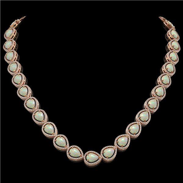 36.48 ctw Opal & Diamond Micro Pave Halo Necklace 10k Rose Gold - REF-709H3R