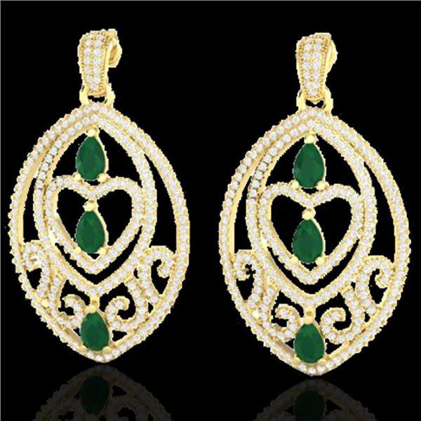 7 ctw Emerald & Micro Pave VS/SI Diamond Heart Earrings 18k Yellow Gold - REF-418N2F