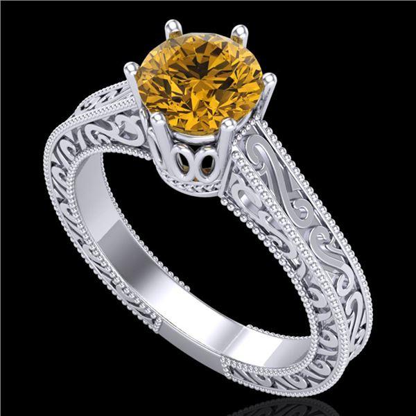1 ctw Intense Fancy Yellow Diamond Art Deco Ring 18k White Gold - REF-236K4Y