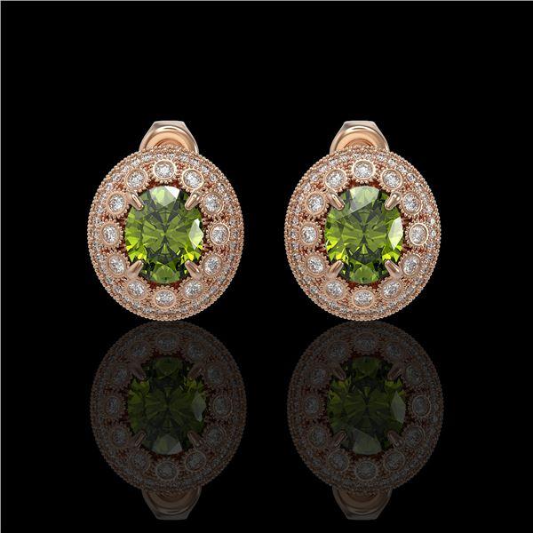 8.04 ctw Tourmaline & Diamond Victorian Earrings 14K Rose Gold - REF-223M6G