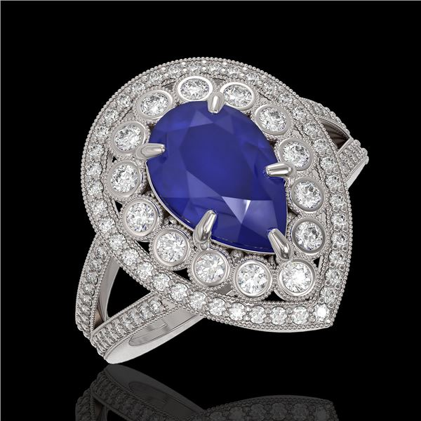 5.12 ctw Certified Sapphire & Diamond Victorian Ring 14K White Gold - REF-161H8R