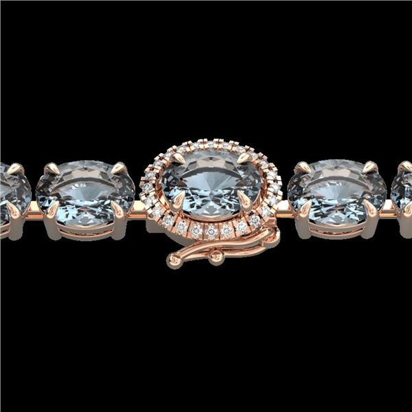 15.25 ctw Aquamarine & Diamond Eternity Micro Bracelet 14k Rose Gold - REF-176M4G