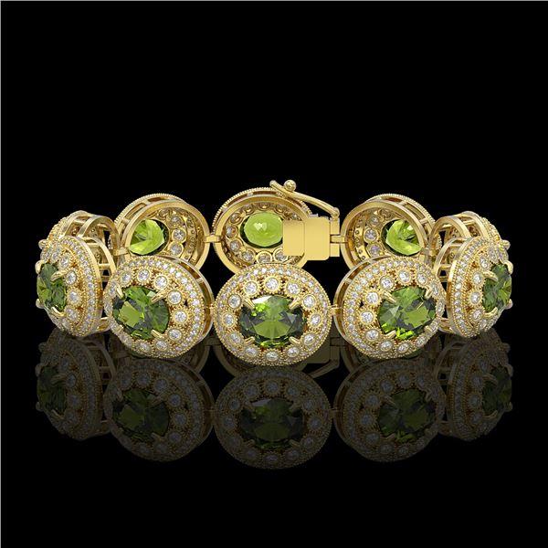 44.22 ctw Tourmaline & Diamond Victorian Bracelet 14K Yellow Gold - REF-1342K4Y