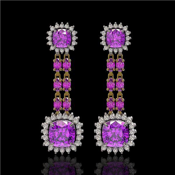 18.96 ctw Amethyst & Diamond Earrings 14K Yellow Gold - REF-222Y2X