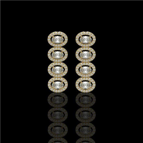 3.84 ctw Oval Cut Diamond Micro Pave Earrings 18K Yellow Gold - REF-334F6M