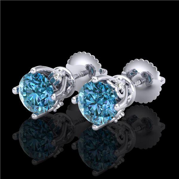1.26 ctw Fancy Intense Blue Diamond Art Deco Earrings 18k White Gold - REF-133W3H