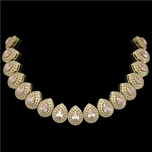 103.22 ctw Morganite & Diamond Victorian Necklace 14K Yellow Gold - REF-4551R3K