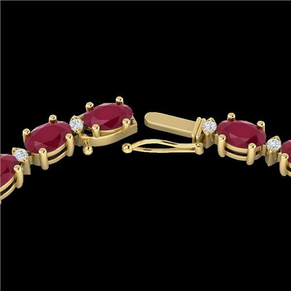 35 ctw Ruby & VS/SI Diamond Certified Eternity Necklace 10k Yellow Gold - REF-229R3K