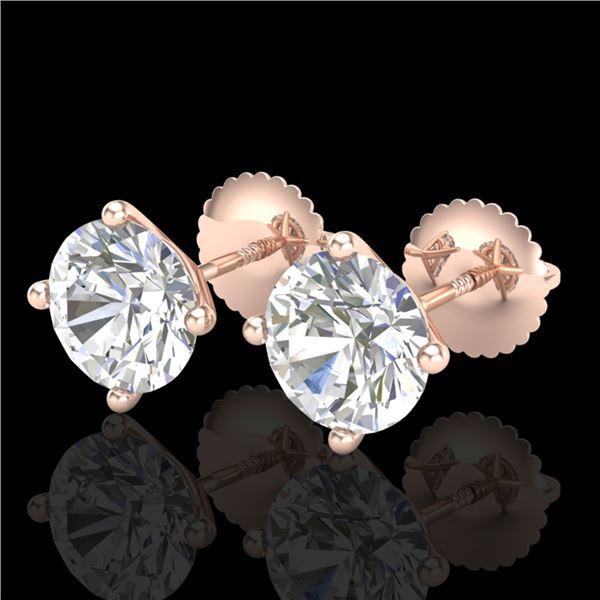 2.5 ctw VS/SI Diamond Solitaire Art Deco Stud Earrings 18k Rose Gold - REF-601R4K