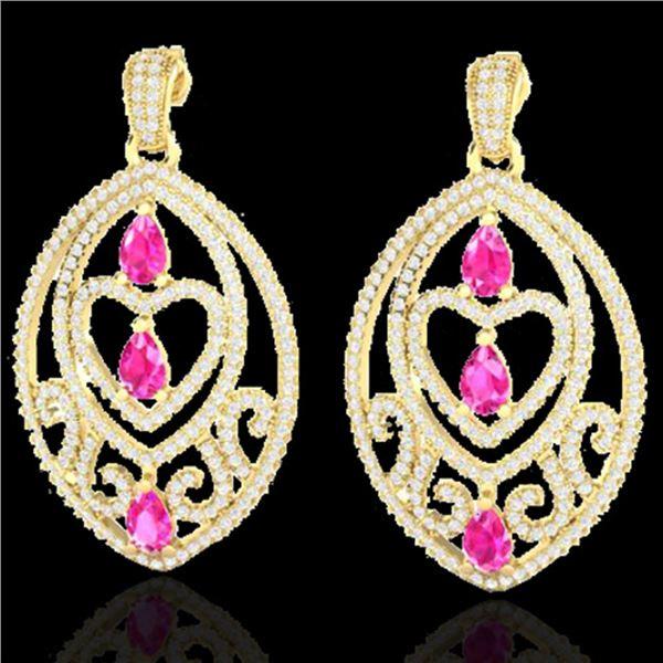 7 ctw Sapphire Pink & Micro Pave Diamond Heart Earrings 18k Yellow Gold - REF-418W2H