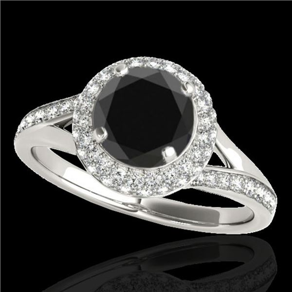 1.85 ctw Certified VS Black Diamond Solitaire Halo Ring 10k White Gold - REF-72Y3X