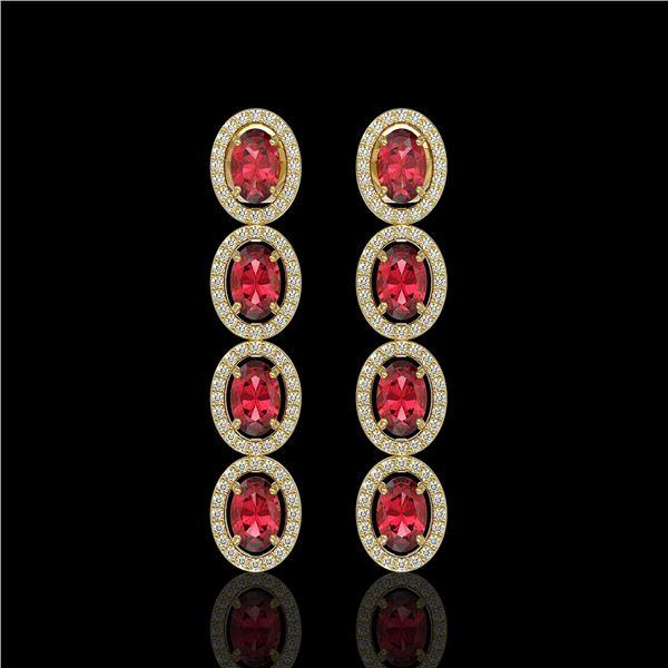 5.88 ctw Tourmaline & Diamond Micro Pave Halo Earrings 10k Yellow Gold - REF-143W6H